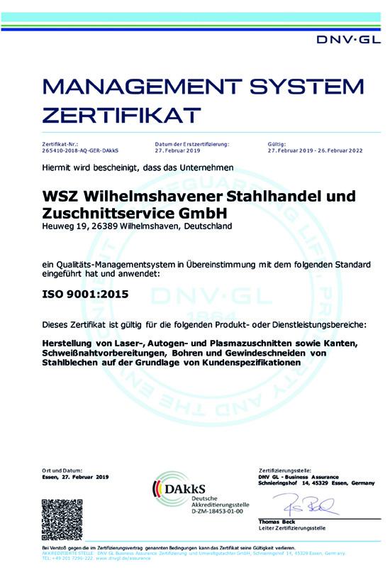 WSZ Zertifikat 9001:2015 Deutsch